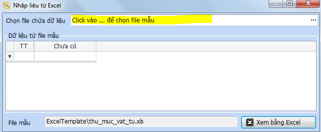 Chọn file excel